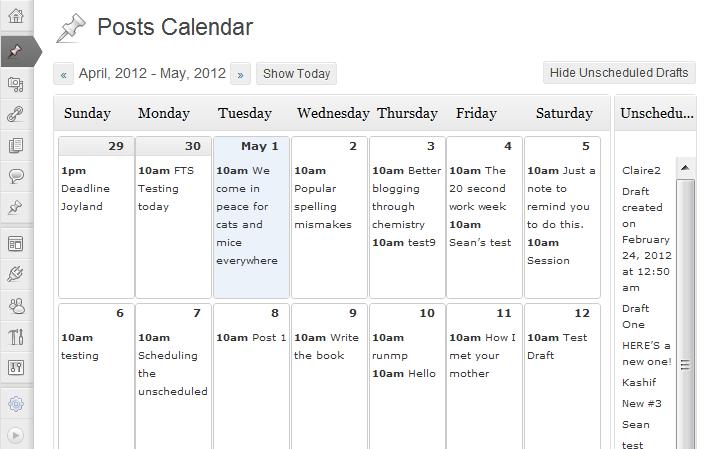 posts calendar